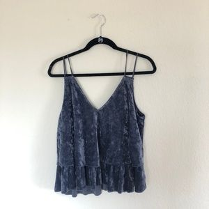 AE Tiered Ruffle Velvet Tank Top